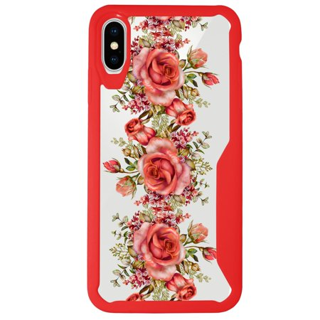MINITURTLE Case Compatible with Apple iPhone XS (2018), iPhone X (2017), Apple iPhone 10 [Floral Print Case] [ARMOR FLEX SERIES] Clear and Red TPU Bumper Case - Rose Vine - Apple Red