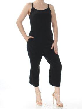 EILEEN FISHER Womens Black Cropped Spaghetti Strap Scoop Neck Wide Leg Jumpsuit  Size: 2XS