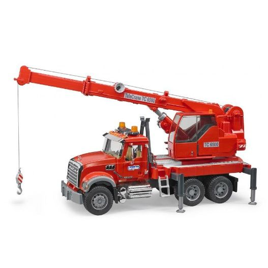 Mack Crane Truck Red with Lights & Sounds Vehicle Toy by Bruder Trucks (02826) by Bruder Trucks