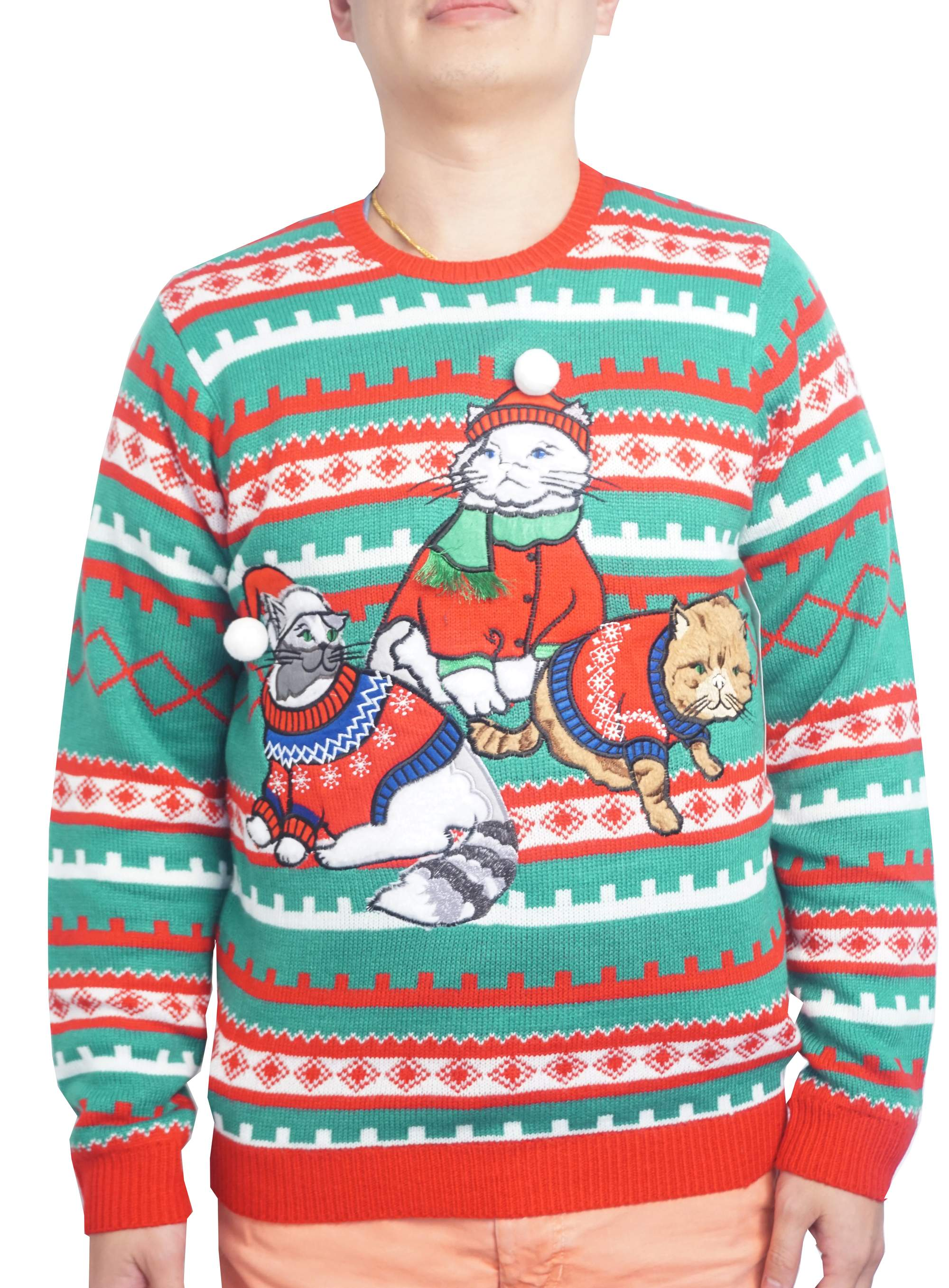 Holiday Mens Fancy Sweater Cat Ugly Christmas Sweater Up To Size