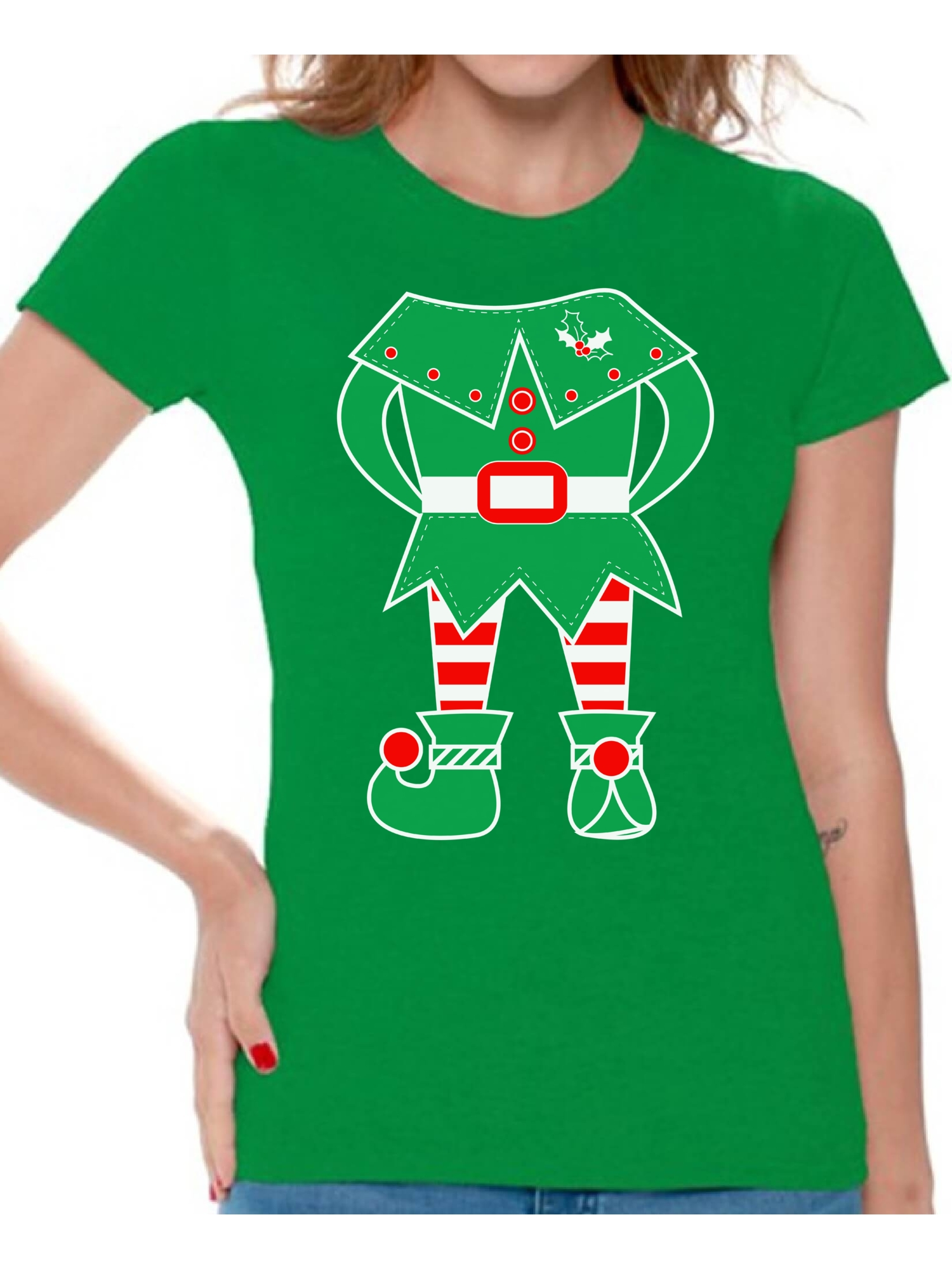 098ff0e71b Awkward Styles Elf Shirt Christmas T Shirts for Women Elf Suit Women's  Holiday Top Funny Elf Shirt Women's Christmas T-Shirt Family Elf Holiday Shirt  Xmas ...
