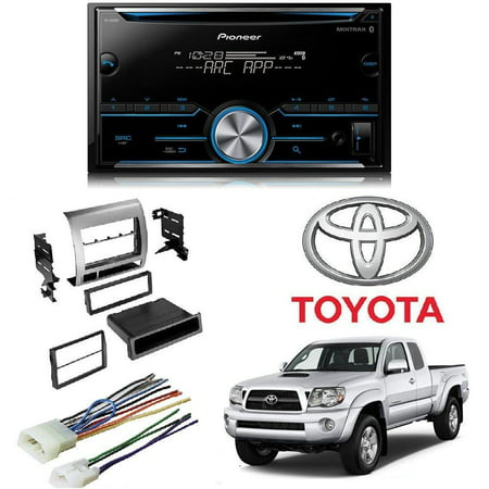 Pioneer FH-S500BT Double DIN Bluetooth In-Dash CD/AM/FM Car Stereo Receiver w/ Pandora Toyota Tacoma Double Din Car Stereo Radio Installation Dash Mount Kit (Radio Installation Instructions)