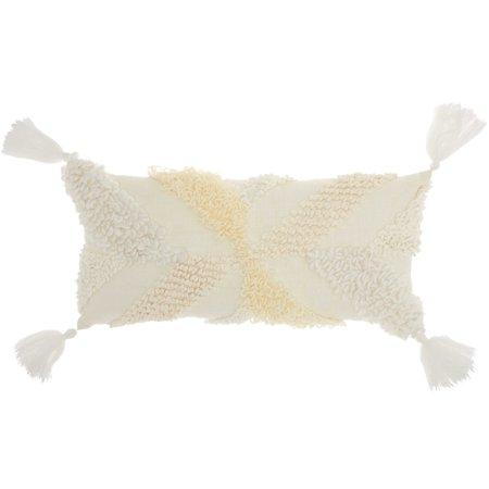 Nourison Life Styles Texture & Tassels Cream Throw Pillow (Tassel Throw)