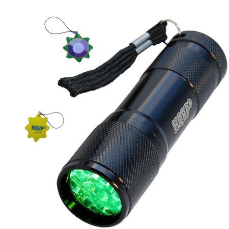 HQRP Pocket Green Light Flashlight 9 LEDs for Emergency Glove-Box / Readiness Kits plus HQRP UV Meter
