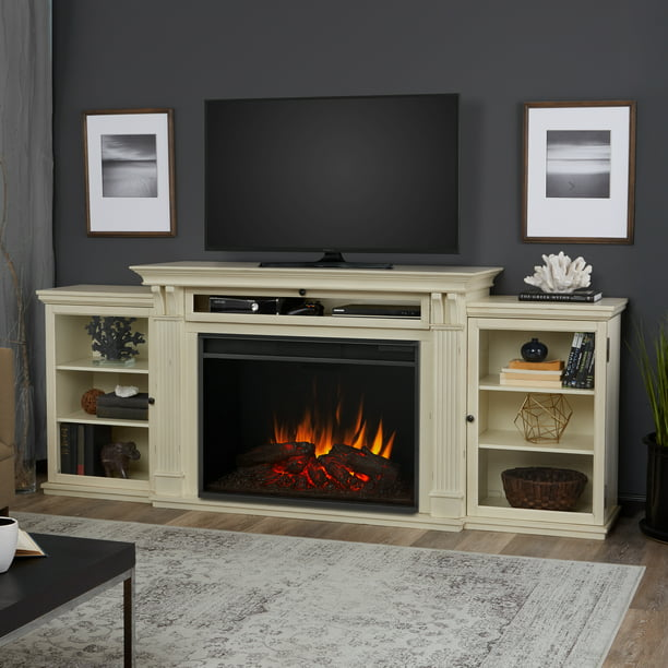 Tracey Grand Entertainment Electric Fireplace in Distressed White By Real Flame
