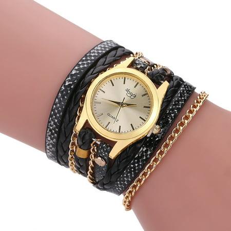 Fashion Vintage Casual Winding Serpentine Grain Braided Watch Women Quartz Wrist Watch (Women Winding Wrist Watch)