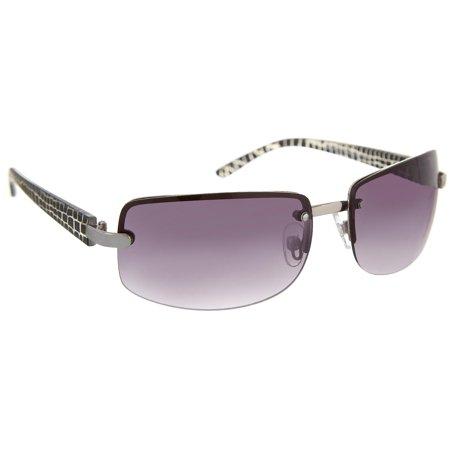 Bay Studio Womens Silver Tone & Black Rectangle Sunglasses One Size Silver (Studio M Sunglasses)