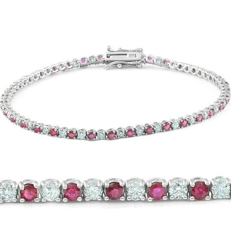 3ct Genuine Ruby & Real Diamond Tennis Bracelet 14K White
