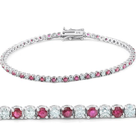 3ct Genuine Ruby & Real Diamond Tennis Bracelet 14K White Gold ()