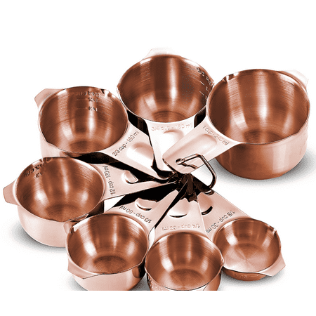 Copper Measuring Cups - Leoney [7-Piece] Copper Measuring Cups - Made of 1 Solid Piece 18/8 Stainless Steel, Engraved Measurements, Dual Pour Spouts, Nesting Measuring Cup Set for Dry, Liquid Ingredients, Cooking & Baking