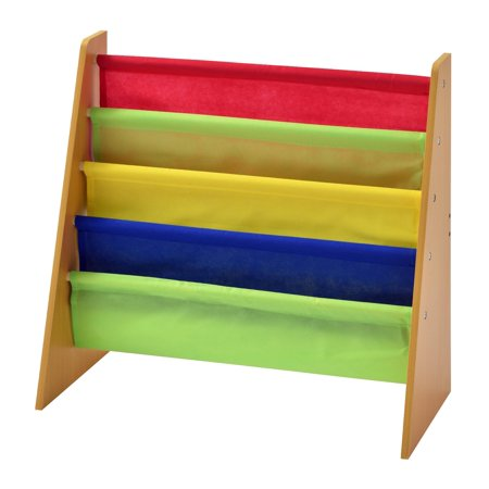 Muscle Rack Freestanding Kids Book Rack, Natural/Multi Color