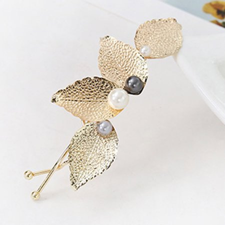 Word Clips (KABOER  2 Pcs Hair Accessories Head jewelry Japanese and Korean Version of The Female Metal Tree Leaves Retro Word Clip Pearl Hairpin Hairpin)