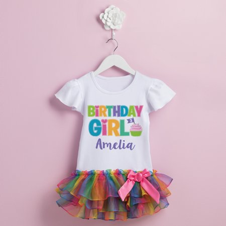 Birthday Girl Personalized Rainbow Tutu Tee - 2T, 3T, 4T, 5/6T](Personalized Dress)
