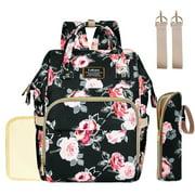 Lokass Diaper Bag Backpack Travel Nursing Backpack With Changing Pad Bottle Warmer Bag Stroller Waterproof Maternity Baby Nappy Bags Black