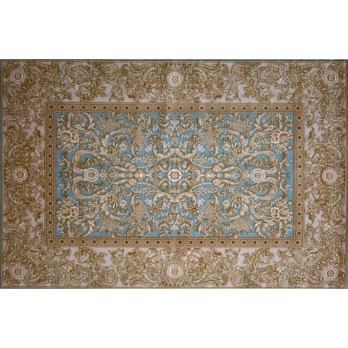 Astoria Grand Groff Hand Look Persian Wool Blue/Ivory/Brown Area Rug