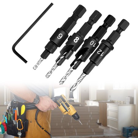 Countersink Drill Bit (6# 8# 10# 12#), Drill Bit Set with One Mini Hex Wrench, High-Speed Steel Drill Adjustable for Wood DIY