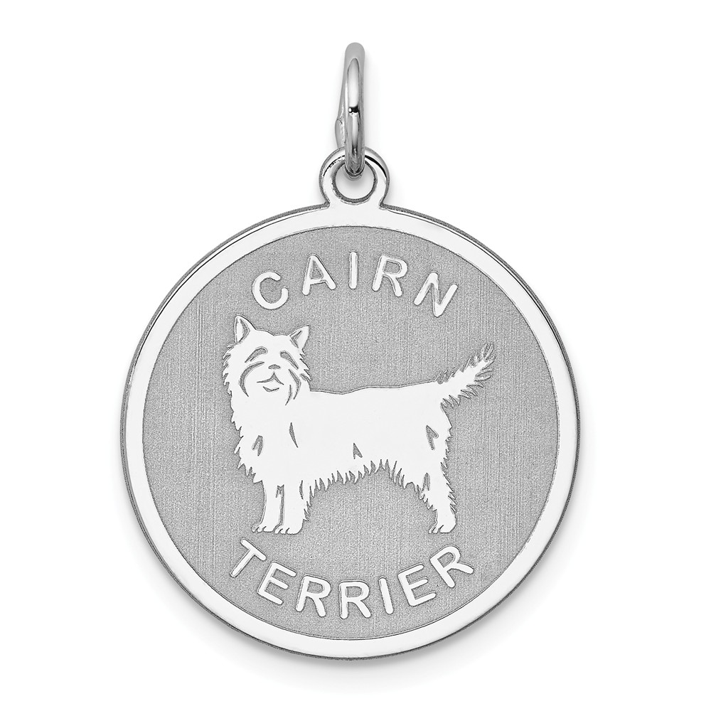 Sterling Silver Engravable Cairn Terrier Charm (1in long x 0.7in wide)