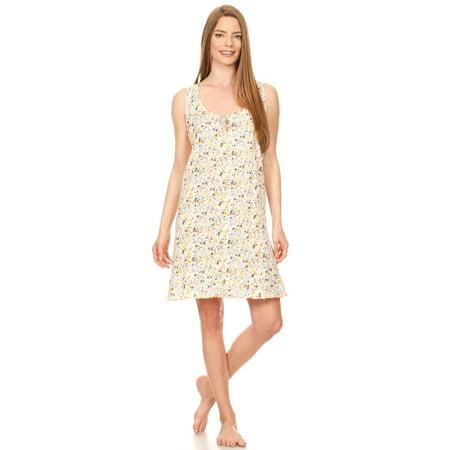 901 Womens Nightgown Sleepwear Cotton Pajamas - Woman Sleeveless Sleep Dress Nightshirt Yellow XL