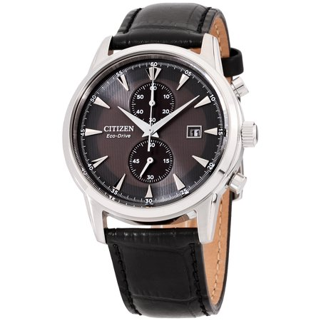 Chronograph Silver Dial Leather (CA7000-04H Men's Corso Chronograph Black Dial Black Leather Strap Eco-Drive Watch )