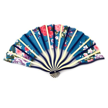 Beach Travel Wood Frame Flower Print Chinese Style Folding Cooling Hand Fan - image 4 de 4