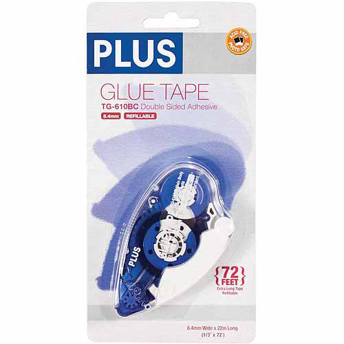 "Plus Corporation Plus Glue Tape Dispenser, .33"" x 72', High Capacity"