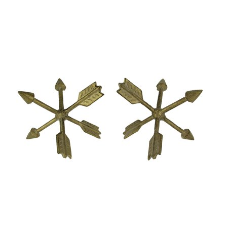- Vintage Gold Metal Crossed Arrows Decor Ball Figurine Set of 2
