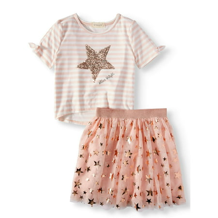 Plus Outfits (Sequin Stripe Cold Shoulder Top and Foil Tutu Skirt, 2-Piece Outfit Set (Big)