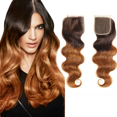 Ombre 4 30 Body Wave Swiss Closure Remy Human Hair 4''x4'' Free Part