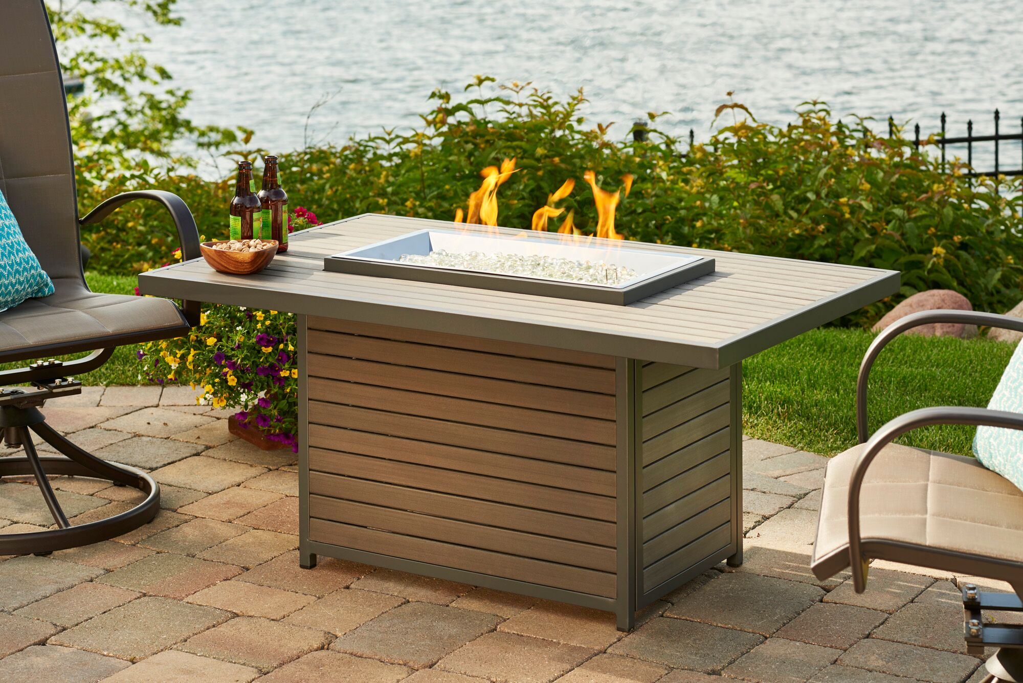 The Outdoor GreatRoom Company Brooks Rectangular Gas Firepit Table by The Outdoor GreatRoom Company
