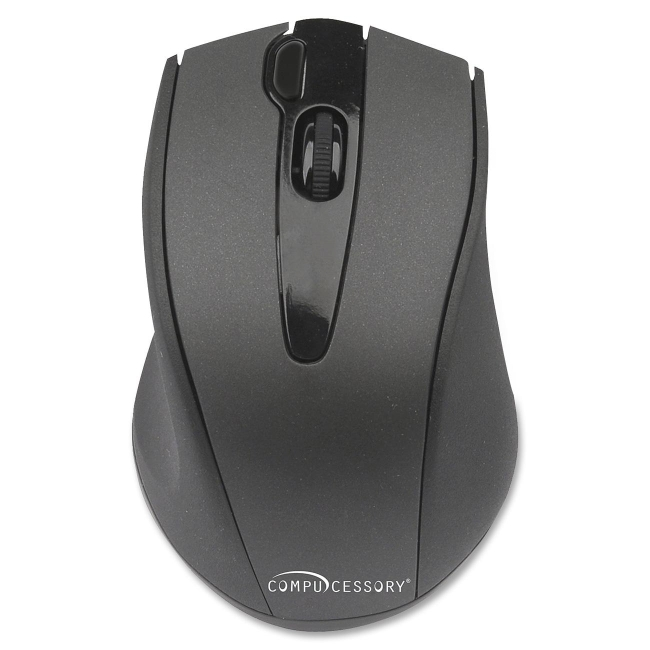 Compucessory Wireless Mouse, 2.4G, Black - V-Track - Wireless - Radio Frequency - Black - 2000 dpi - Tilt Wheel - 4 Butt