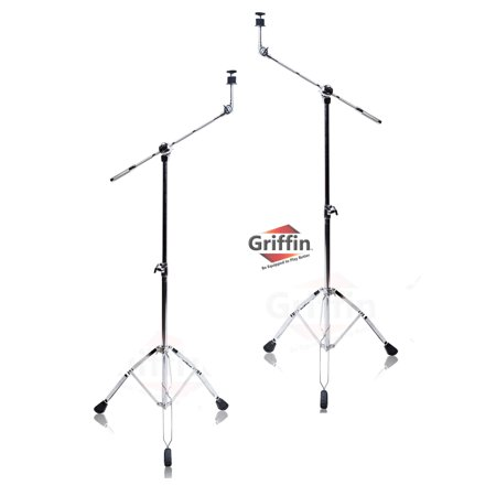 Cymbal Stand With Boom Arm by Griffin (Pack of 2) Drum Percussion Gear Hardware Set with Double Braced Legs Counterweight Adapter for Mounting Heavy Duty Crash, Ride, and Splash Cymbals For Drummers ()