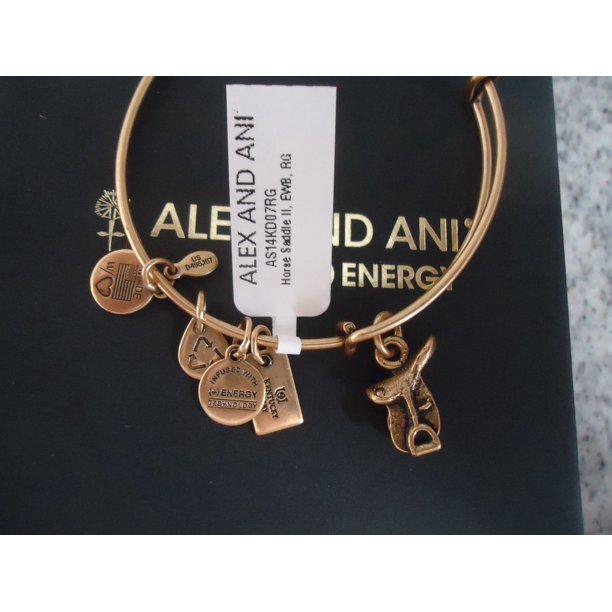 HORSE SADDLE II Russian Gold Charm Bangle New With Tag Card & Box