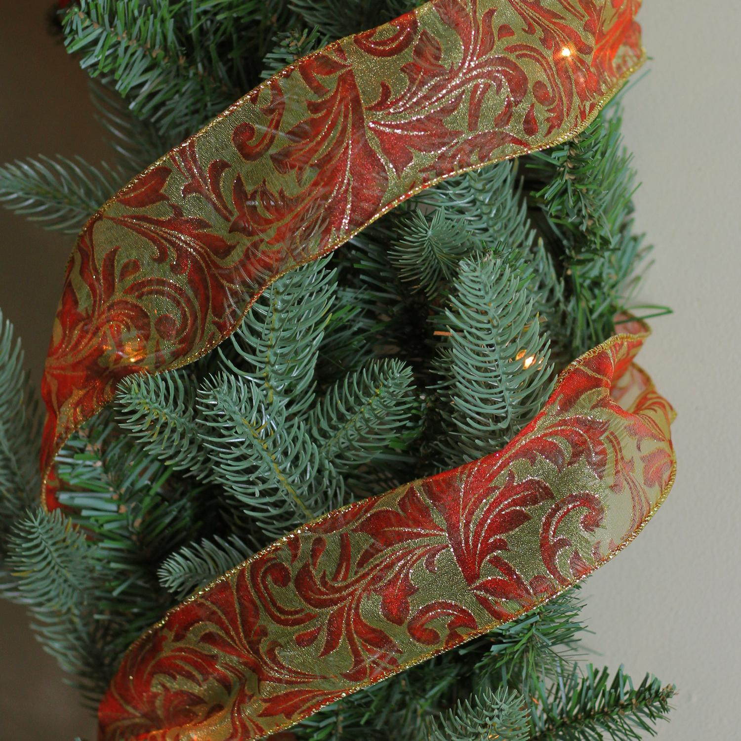Red Scroll Gold Wired Mesh Christmas Craft Ribbon