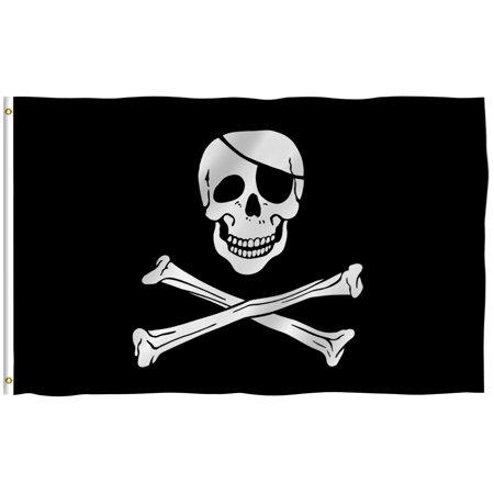 ANLEY [Fly Breeze] 3x5 Feet Jolly Roger Flag with Eyepatch - Vivid Color and UV Fade Resistant - Canvas Header and Brass Grommets - Pirate Banner Flags