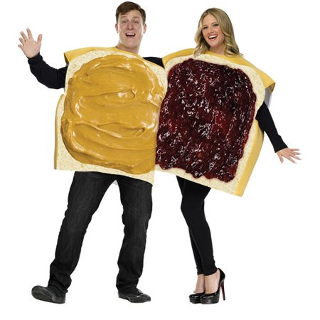 Peanut Butter and Jelly Adult Couple Halloween Costume](Couples Costume Ideas For Halloween 2017)