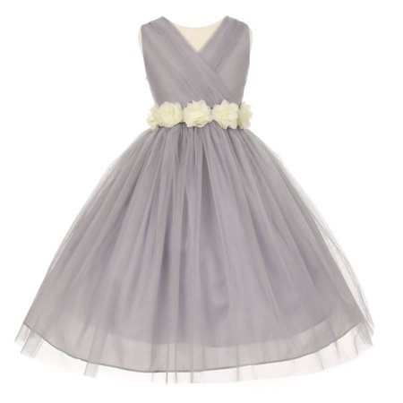 Little Girls Silver Ivory Chiffon Floral Sash Tulle Flower Girl Dress 4](Silver Little Girl Dresses)