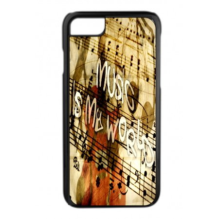 Music is My World Design Black Plastic Phone Case That Is Compatible with the Apple iPhone 6+ / 6s+