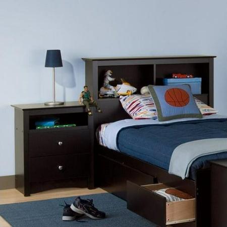 Prepac Sonoma Black Twin Wood Bookcase Headboard 2 Piece Bedroom Set