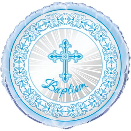 Foil Radiant Cross Baptism Balloon, 18 in, Blue, 1ct - Baptism Decorations