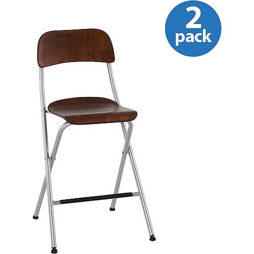 Mainstays Folding Pub Chairs, Set of 2, Walnut