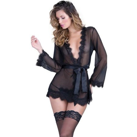 e06da7c9806f Womens Lace Sheer Sexy Sleepwear Robe Bathrobe Nightwear Dress Lingerie  Sets - Walmart.com