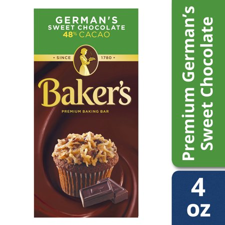 (3 Pack) Baker's Premium German's Sweet Chocolate Baking Bar, 4 oz Box (Semi Sweet Baking Bar)