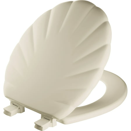 Mayfair Easy Clean Round Enameled Wood Shell Design Toilet Seat in Bon