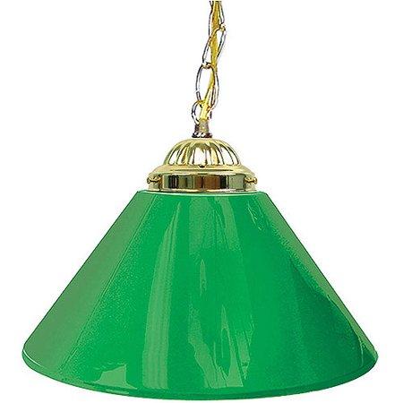 """Trademark Global Plain Green 14"""" Single Shade Bar Lamp - Brass Hardware"""