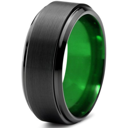 Tungsten Wedding Band Ring 10mm for Men Women Green Black Beveled Edge Brushed Polished Lifetime Guarantee