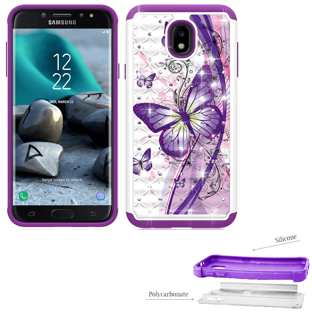 Phone Case for Samsung Galaxy J7 V 2nd-Gen. (Verizon), Samsung Galaxy J7 (2018), J7 Refine, J7 Star, J737 Crystal-Dual-Layered Rugged Cover (Crystal Butterfly with Purple)