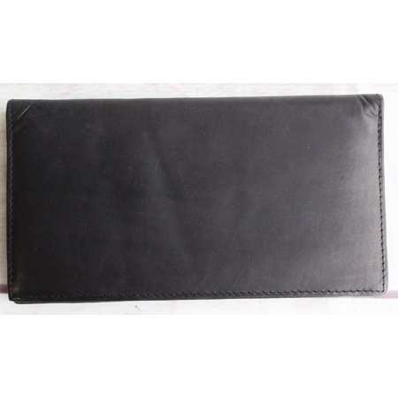 Black Genuine Leather Flip Wallet with multiple card slots 27RS04 ()