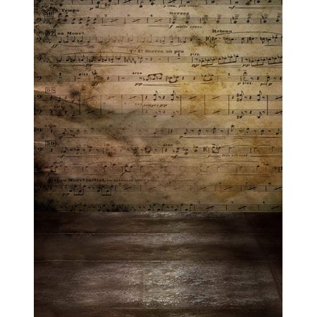 ABPHOTO Polyester 5x7ft Old Sheet Music Photography Backdrops Photo Props Studio Background - Sheet Music Background