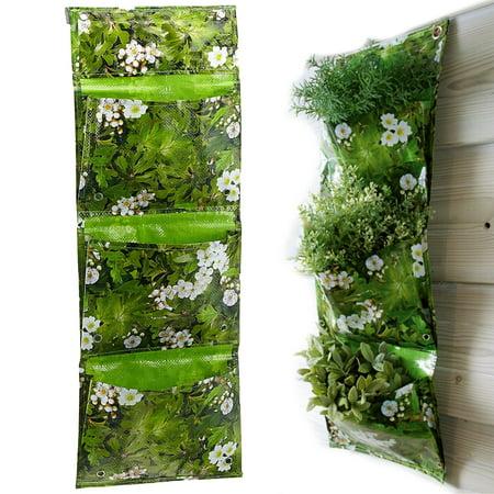 Esschert Design Triple Pocket Vertical Hanging Planters Wall Pots for Herb plants, 2 Pack