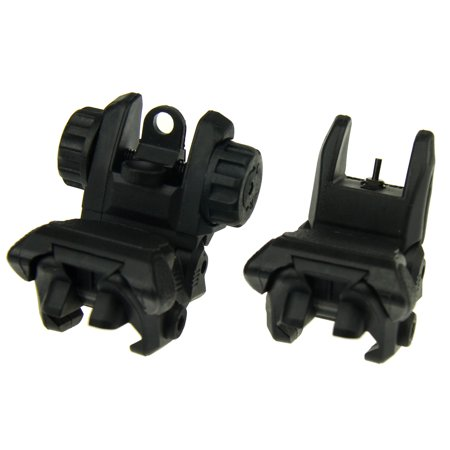 TACFUN BLACK Polymer Flip Up Folding Auto Deploy Front & Rear BUIS Back Up Sight